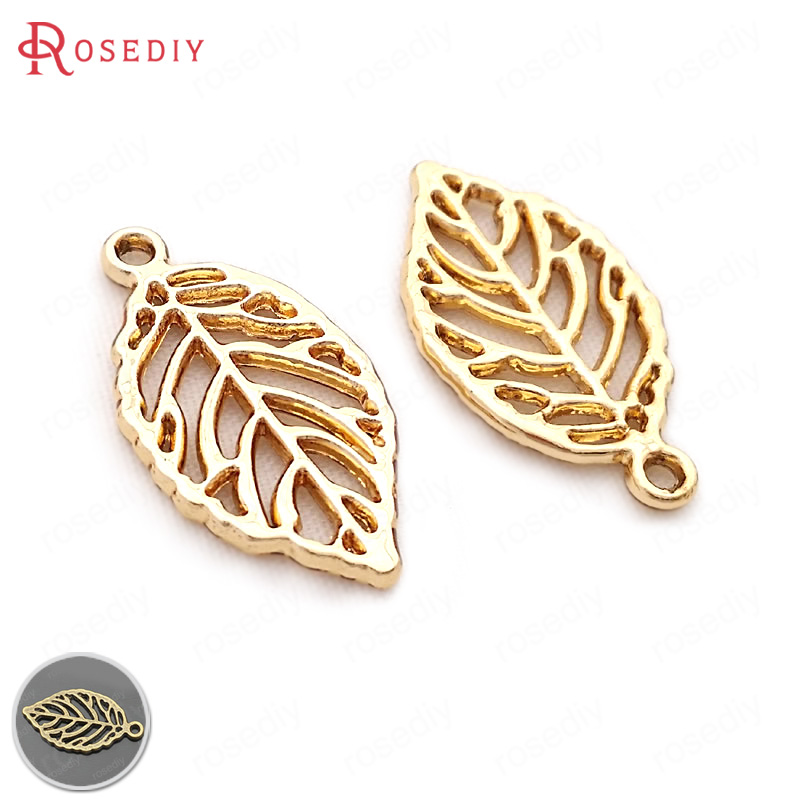 (29692)30PCS 27*14MM Champagne gold Color Plated Zinc Alloy Leaves Tree Leaf Charms Pendants Diy Jewelry Findings Accessories