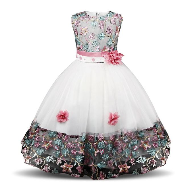 c0b0586884a2 Flower Girls Party Princess Dress Kids Embroidered Formal Wedding ...