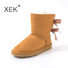 2017 Women's Winter Bailey Bow Snow Boots Warm Plush Shoes Cow leather-based  Australia Classic Boots for ladies two ribber boots