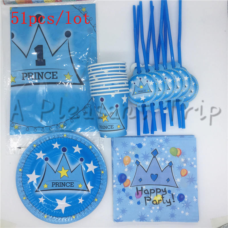 51pcs / lot beautiful blue crown child birthday party decorating party supplies baby birthday packs party set