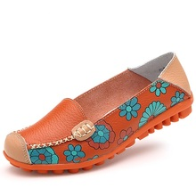 LEMAI 2019 Spring women flats shoes women genuine leather shoes woman cutout loafers slip on ballet flats boat shoes #3591