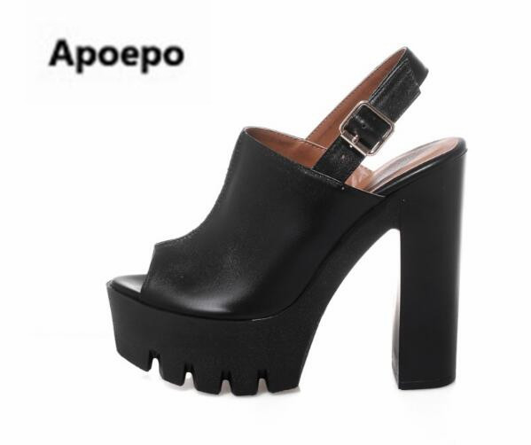Apopeo summer women pumps peep toe 14 cm sexy high heels ankle boots platform sandals women buckle white black shoes women 2018 spring summer new fashion sexy women pumps peep toe wedges platforms high heels sandals shoes woman buckle 35 42 loslandifen