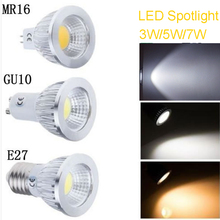 10pcs/lot 220V AC GU10 COB Spot Light Bulb Lamp 3W 5W 7W Energy Saving with cover Warm White/Cool White