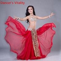 Танцора жизнеспособность Новый танец живота длинная юбка комплект Sexy Dancer практика костюм комплект бюстгальтер + пояс + юбка 3 шт. красный и т