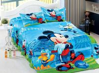 Disney Cartoon Mickey Mouse Bed Sheet Set Cotton Duvet Cover Twin Size 3pc Blue Home Decor