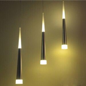 Image 2 - 1 sztuk nowoczesne led stożkowe lampy wiszące 7W aluminium akrylowe oświetlenie wewnętrzne jadalnia/salon bar cafe wiszące lampy