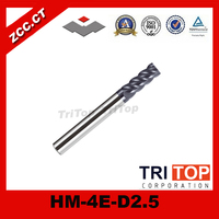100% guarantee original zcc.ct HM/HMX-4E-D2.5 solid 4 flute flattened end mills with straight shank tungsten cobalt alloy