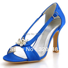 0502D Fashion Blue Peep Toe Pearl Rhinestone Cutouts High Heel Pumps Satin Bridal Prom Woman Sandals 2016