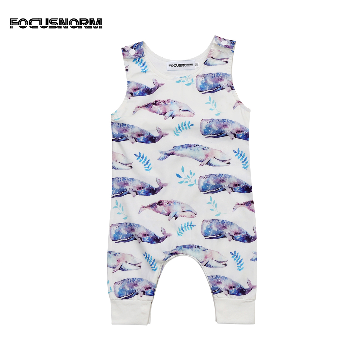Fashion Newborn Baby Boys Girls Whale Printed Long Sleeves Romper Jumpsuit One Piece Cotton Outfits Clothes
