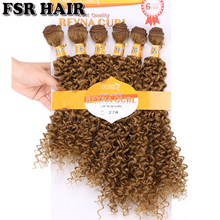 Reyna Afro Kinky Curly Cabelo Sintético Dourado Tecer 6 Pacotes/Lote jerry encaracolado feixes de cabelo para as mulheres