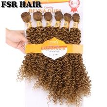 Reyna Afro Kinky Kıvırcık Altın Sentetik Saç Örgü 6 Demetleri/Lot jerry kıvırcık saç demetleri kadınlar için