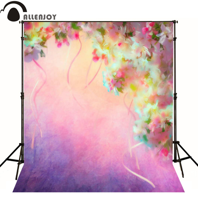 Allenjoy photography backdrops Blue pink flower painting photo