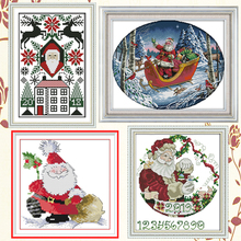 Joy Sunday,Santa Claus,cross stitch embroidery set,printing cloth kit,needlework,Christmas style cross