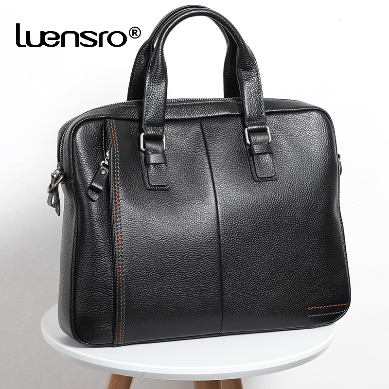 LUENSRO 100% Genuine Leather Men's Briefcase Fashion Large Capacity Business Bag Black Male Shoulder Laptop Bag Men Briefcase