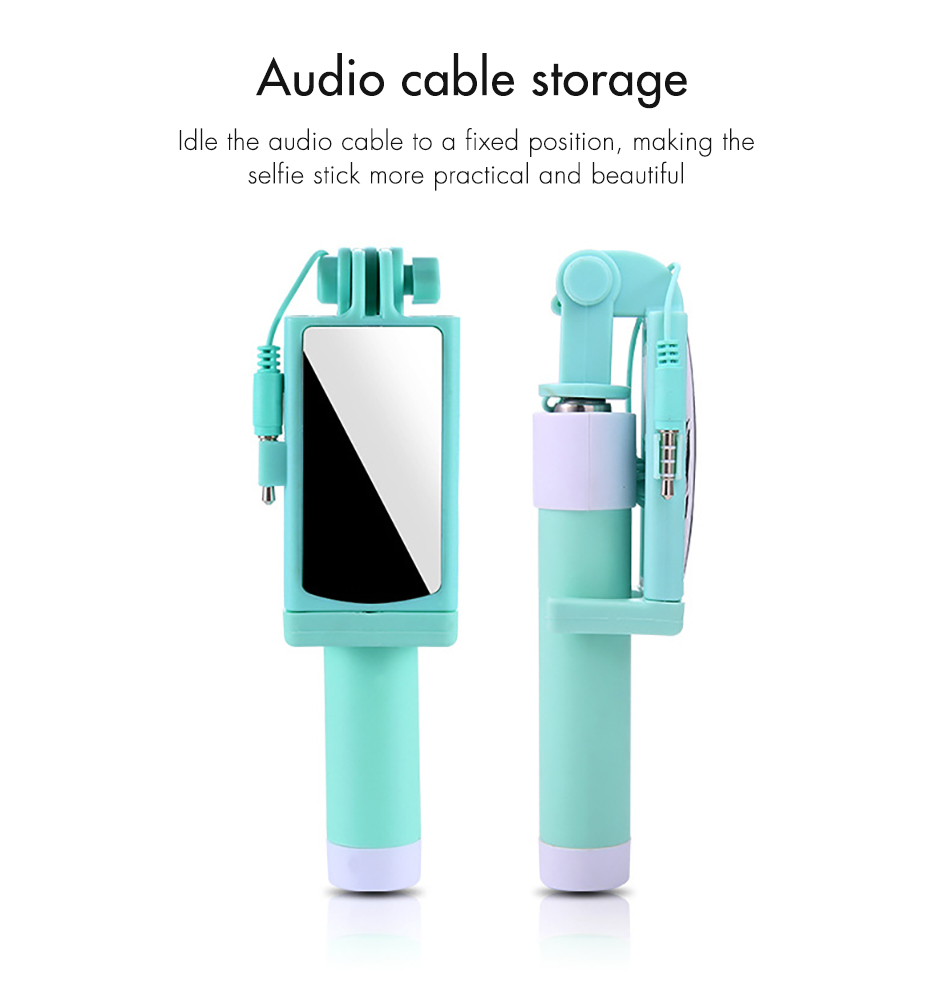 !ACCEZZ Mini Wired Selfie Stick IOS For iPhone X XR XS MAX 8 7 6 For Huawei Samsung Monopod Foldable Portable Selfiestick Mirror (12)