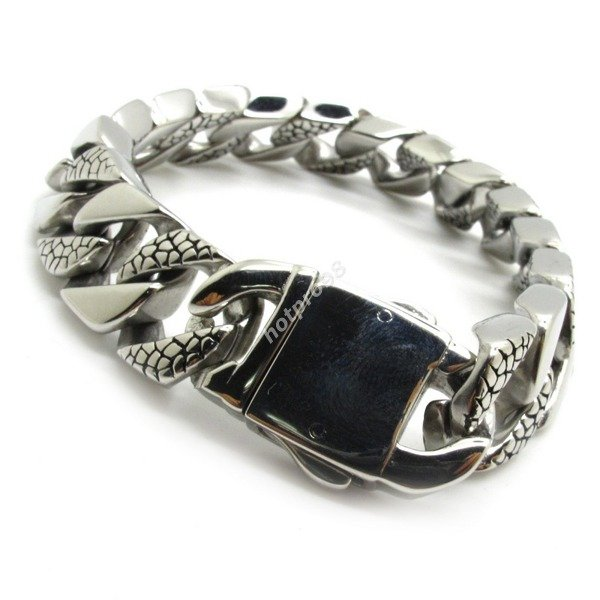 Guarantee 100 Mens Boys Cool Silver Bracelet Bangle Biker Chain Punk Stainless Steel