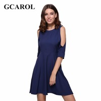 GCAROL 2017 Women Off The Shoulder Sexy Dress Back Follow Out High Quality Above-Kneel Length Dress Early Spring Summer Dress