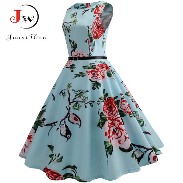 2755f44924 Summer Women Dresses 2018 Casual Floral Retro Vintage 50s 60s Robe  Rockabilly Swing Pinup Vestidos Sexy Party Dress Plus Size free shipping  worldwide