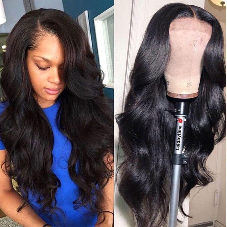 180% perruque de cheveux humains avant dentelle 13X4 pré plumé Remy brésilien vague de corps dentelle frontale perruques avec des cheveux de bébé pour les femmes noires