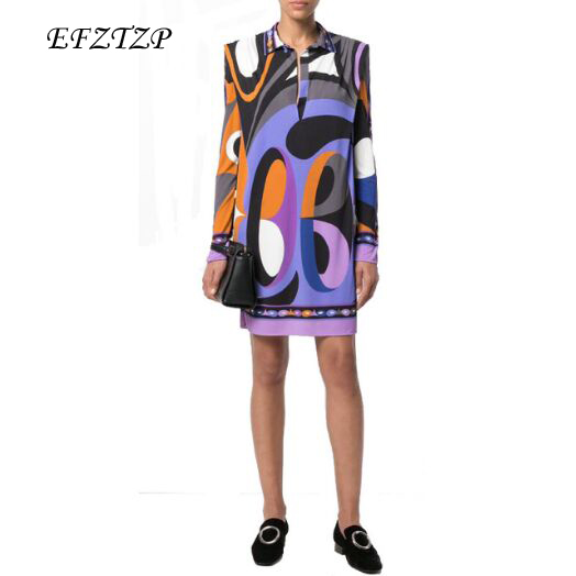 New 2018 Fashion Designer Brand XL XXL Dress Women s Long Sleeves purple Geometry Printed Stretch
