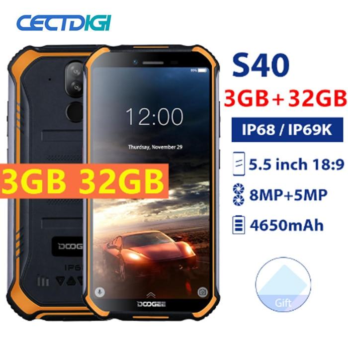 Original DOOGEE S40 3GB 32GB Android 9.0 4650mAh Smartphone IP68/IP69K étanche 5.5 pouces MT6739 8MP NFC visage ID 4G téléphone portable-in Mobile Téléphones from Téléphones portables et télécommunications on AliExpress - 11.11_Double 11_Singles' Day 1