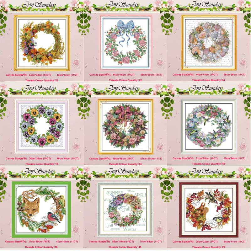 The wreath counted Cross Stitch 11CT 14CT Set Wholesale DIY flower ird Cross-stitch Kit Embroidery Needlework