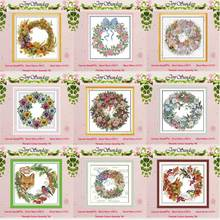 The wreath counted Cross Stitch 11CT 14CT Cross Stitch Set Wholesale DIY flower ird Cross-stitch Kit Embroidery Needlework red rose on the table painting counted 11ct 14ct cross stitch wholesale diy cross stitch kit embroidery needlework home decor