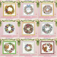 The wreath counted Cross Stitch 11CT 14CT Cross Stitch Set Wholesale DIY flower ird Cross-stitch Kit Embroidery Needlework(China)