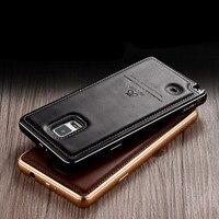Original IMATCH Echtes Leder Rückseitige Abdeckung & Aluminiummetallstoß rahmen Eingestellt Telefonkasten Für Samsung Galaxy Note N9100 4 fall