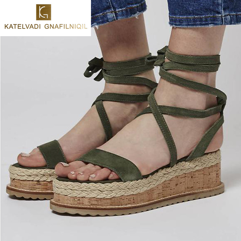 Best buy ) }}2018 Summer Wedges Sandals Open Toe Cross Strap Gladiator Sandals Women Lace Up