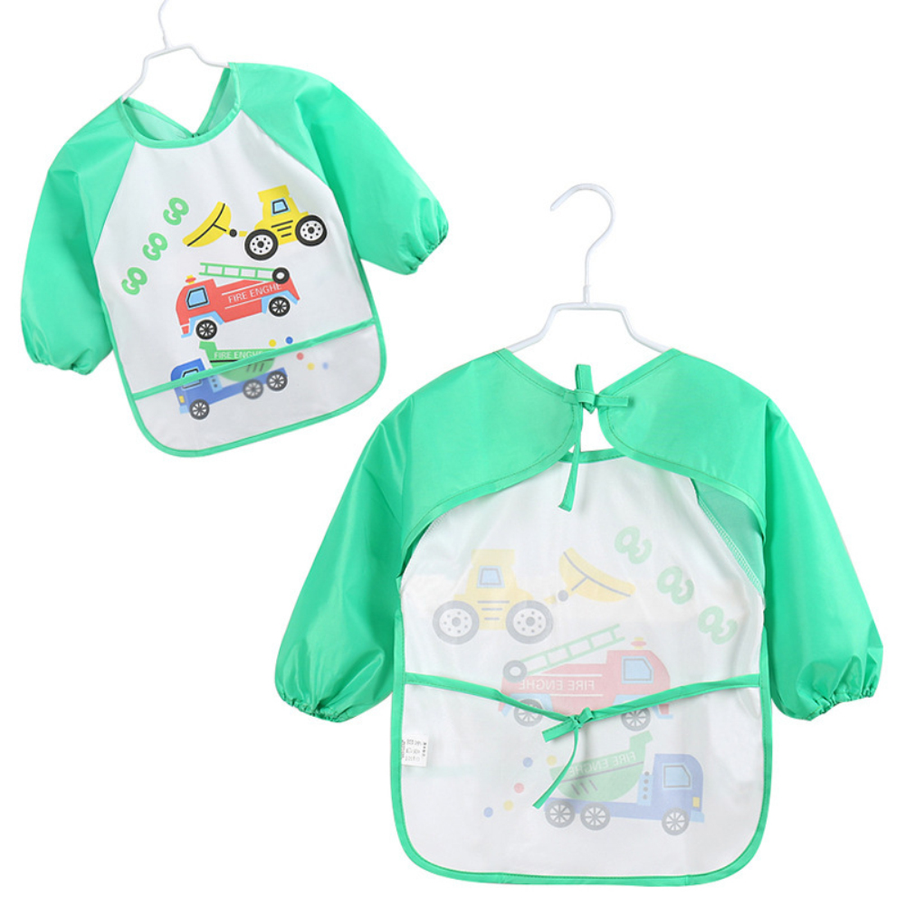 Image 2 - Lovely Baby Bibs Infant Long Sleeve Waterproof Baby Feeding Smock Apron Children Plastic Coverall Bib Toddler Newborn Bib Apron-in Bibs & Burp Cloths from Mother & Kids