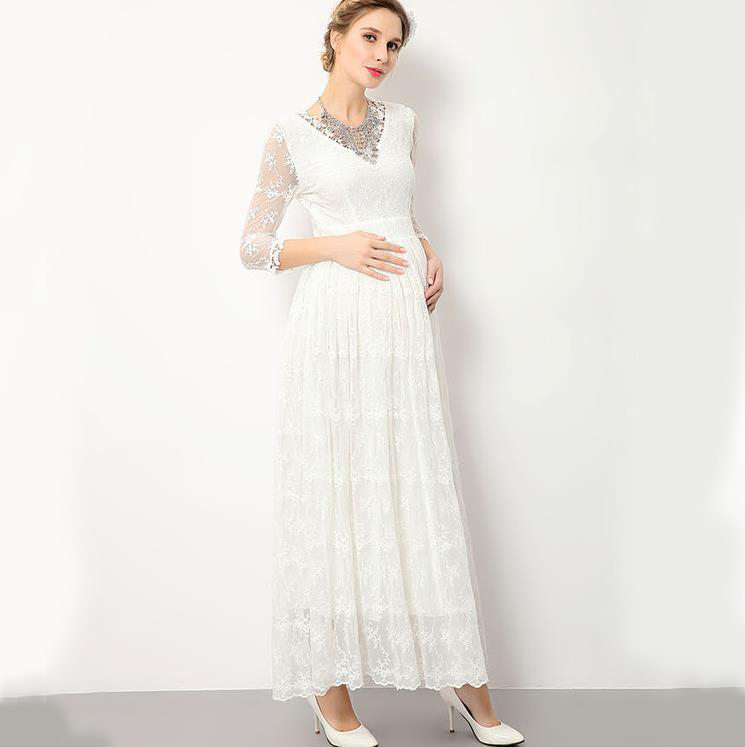 Formal Party Evening Pregnancy Dresses for Pregnant Clothing Elegant Women Long Sleeves Atummn Lace Maternity Dress Photography
