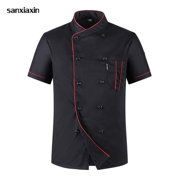 New Unisex Kitchen hotel Chef Uniform Bakery Food Service Cook Short Sleeve shirt Breathable Double Breasted Chef Jacket clothes unisex chef jacket kitchen restaurant uniform shirt summer chef cook shirt apron hat food service bakery hotel work clothes