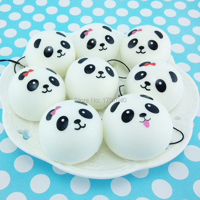 40 unids/lote 4 cm linda cara de Panda dibujos animados blandos Kawaii pan Buns simulación alimentos juguetes al por mayor