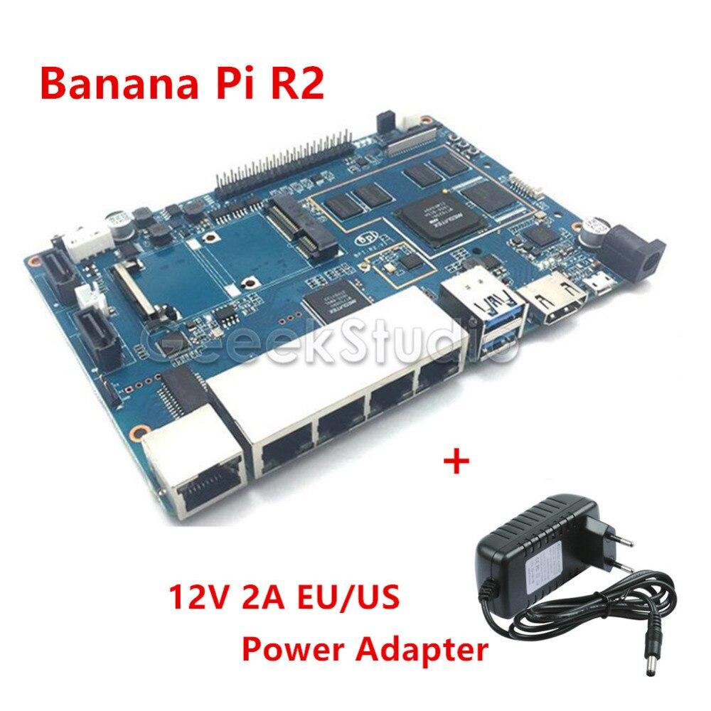 En Stock! Banane Pi R2 BPI-R2 Quad-Core 2 GB RAM avec SATA WiFi Bluetooth 8 GB eMMC + 12 V 2A EU/US DC alimentationEn Stock! Banane Pi R2 BPI-R2 Quad-Core 2 GB RAM avec SATA WiFi Bluetooth 8 GB eMMC + 12 V 2A EU/US DC alimentation
