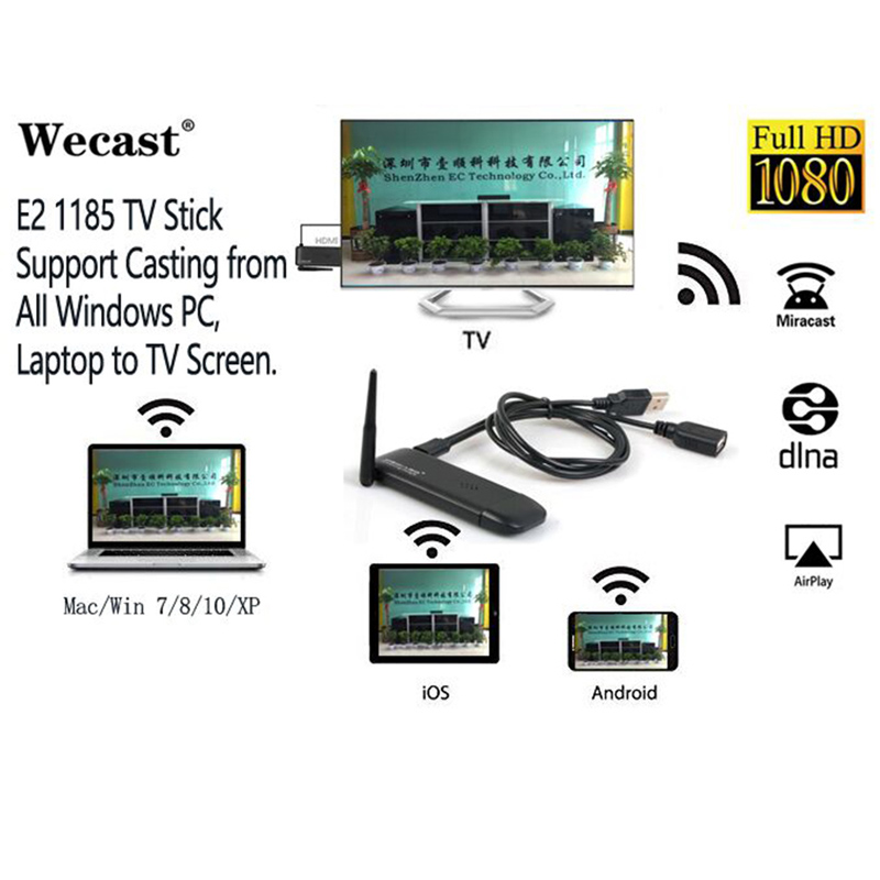 US $28 33 |Wecast genuine smart TV stick E2 miracast Mac computer laptop  tablet PC iPad smartphone to TV projector for business office work-in TV