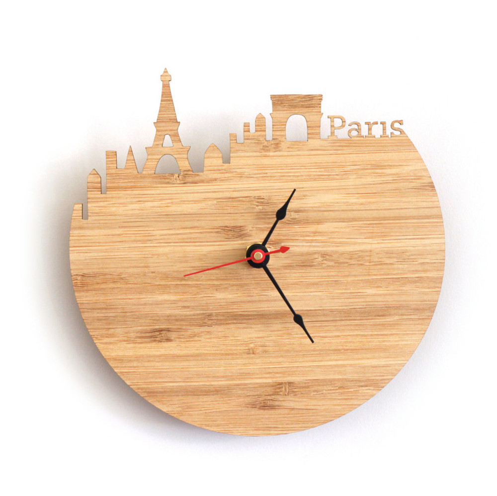 Art natural wood wall clock special national map design france art natural wood wall clock special national map design france paris city silhouette geometric shape silently decor home clock in wall clocks from home amipublicfo Image collections