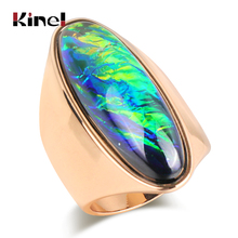 Kinel Hot Fashion Big Ring For Women Gold Color Colorful Stone Party Rings Luxury Engagement Jewelry Best Gift