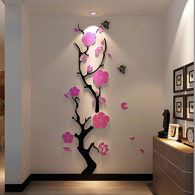 traditional chinese plum flower design acrylic stickers diy sticker