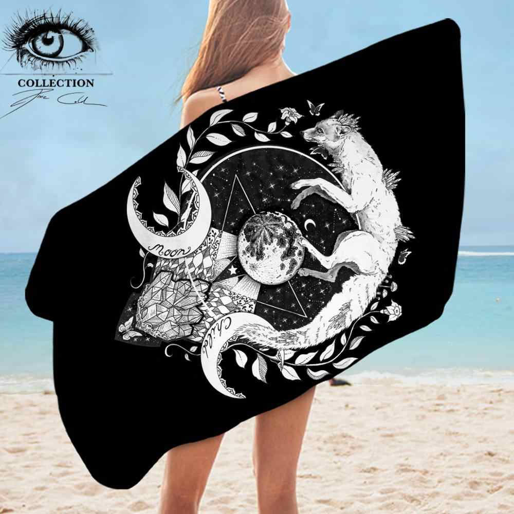 Lune enfant noir par lutin Art froid serviette de salle de bain renard Animal serviette de plage loup galaxie planète bleu violet Rectangle serviette