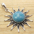 Silver Plated OXIDIZED Pendant, Beautiful LARIMAR Gem Retro Fashion Gallery