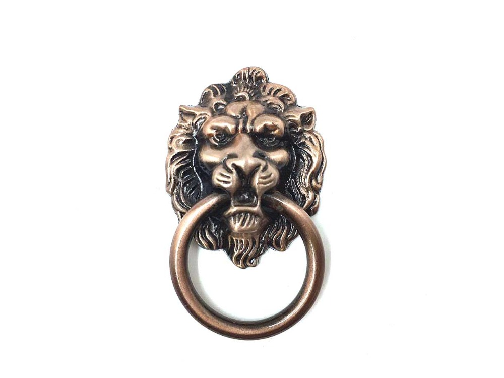 European rural style furniture handle zinc alloy pull bronze lion head rings for cabinet drawer wardrobe cupboard handle