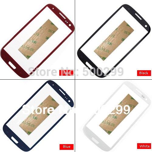 Für samsung galaxy s3 i9300 i9305 i747 i535 T999 touchscreen digitizer glaslinse mischfarbe + freier klebstoff; 100% garantie