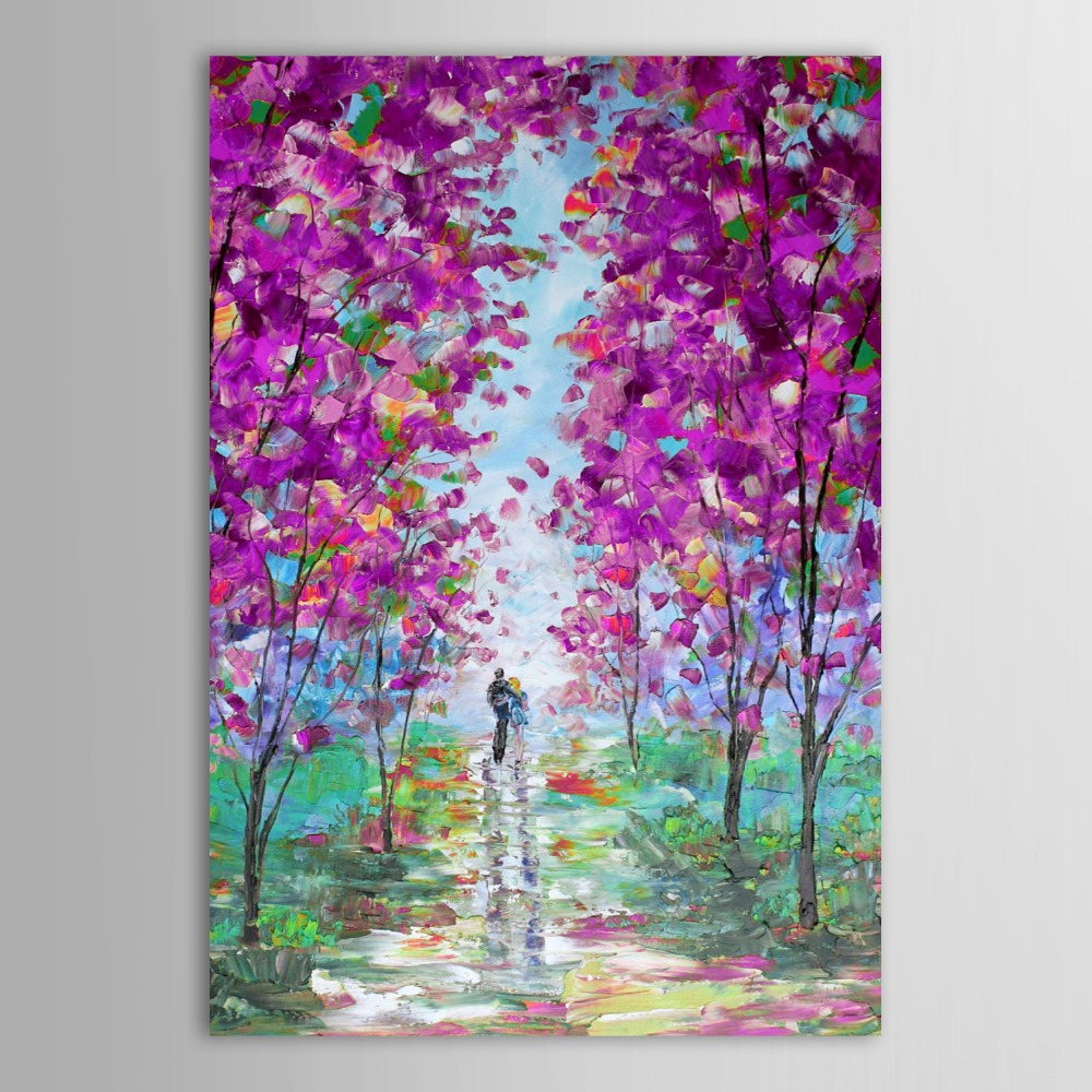 Purple Flower Oil Painting Abstract Wall Art Picture