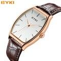 Venda quente EYKI 30 M Quadrado Simples Relógio de Couro Preço Relógio de Quartzo Escala Roman Relógios De Pulso De Luxo de Ouro dos homens