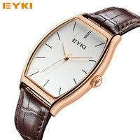 Hot Sale EYKI 30M Square Simple Watch Leather Men S Golden Roman Scale Quartz Wristwatches Luxury
