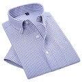2016 Verão Estilo Casual Listrado Luxo Macho Magro Camisa de Manga Curta Mens camisas Oxford Chinês Fábrica de Roupas Conexão