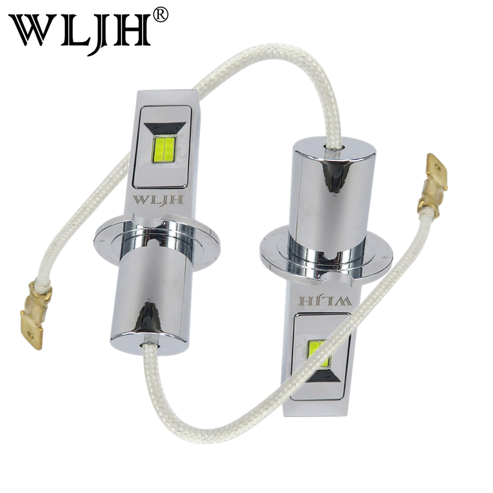 WLJH 2x High Bright DC9V-30V Auto H3 LED Chip of CSP Replacement Bulbs Car Styling Fog Lights H3 Daytime Running Lights DRL Lamp