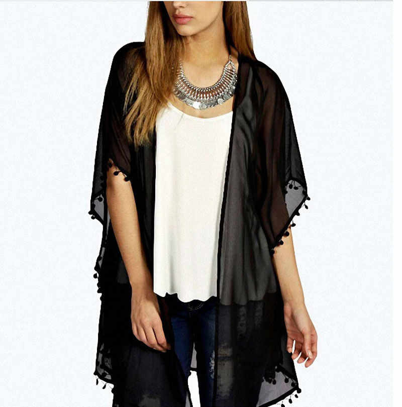 2018 Summer Sexy Women Kimono Cardigan Chiffon Tassel Long Beach Cover Up Tops Shirt Black Blouse