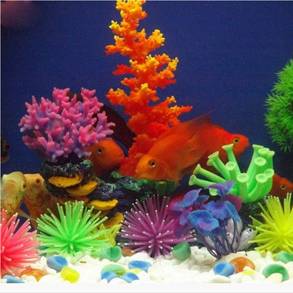 2019 New Style Coral Artificial Silicone Gel Aquarium Supplies Fish Tank Decoration transparent And Red Home & Garden